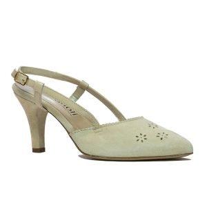 Pantofi Confort Piele Intoarsa Beige 1689