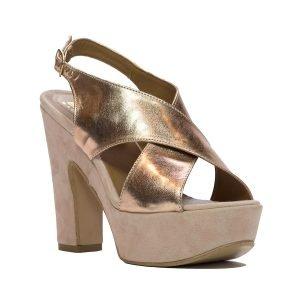 Sandale Piele Intoarsa Roz 1039